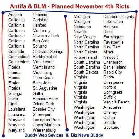 Nobember 4 ANTIFA Riot locations